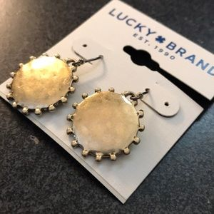 NWT Lucky Brand gold medallion drop earrings